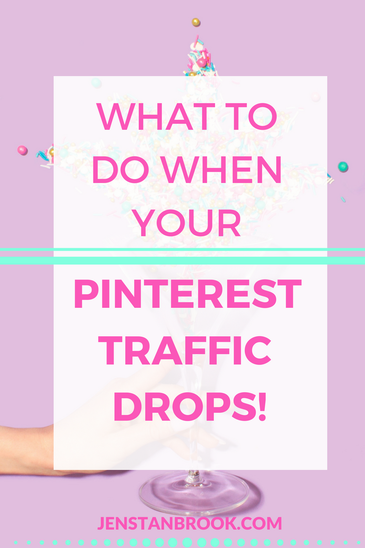 What should you do when you see a big drop in Pinterest traffic? Here are my top tips for how to react, what to look at and how to recover from a Pinterest traffic drop. It's not all doom and gloom, there are ways to make it better! #Pinteresttips #Pinterestmarketing #jenstanbrook
